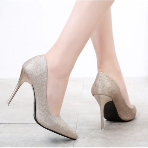 Giày cao gót màu đỏ đen - Giày cao gót nữ-  Giày nữ công sở - giày cô dâu - giày pha lê - giày thời trang