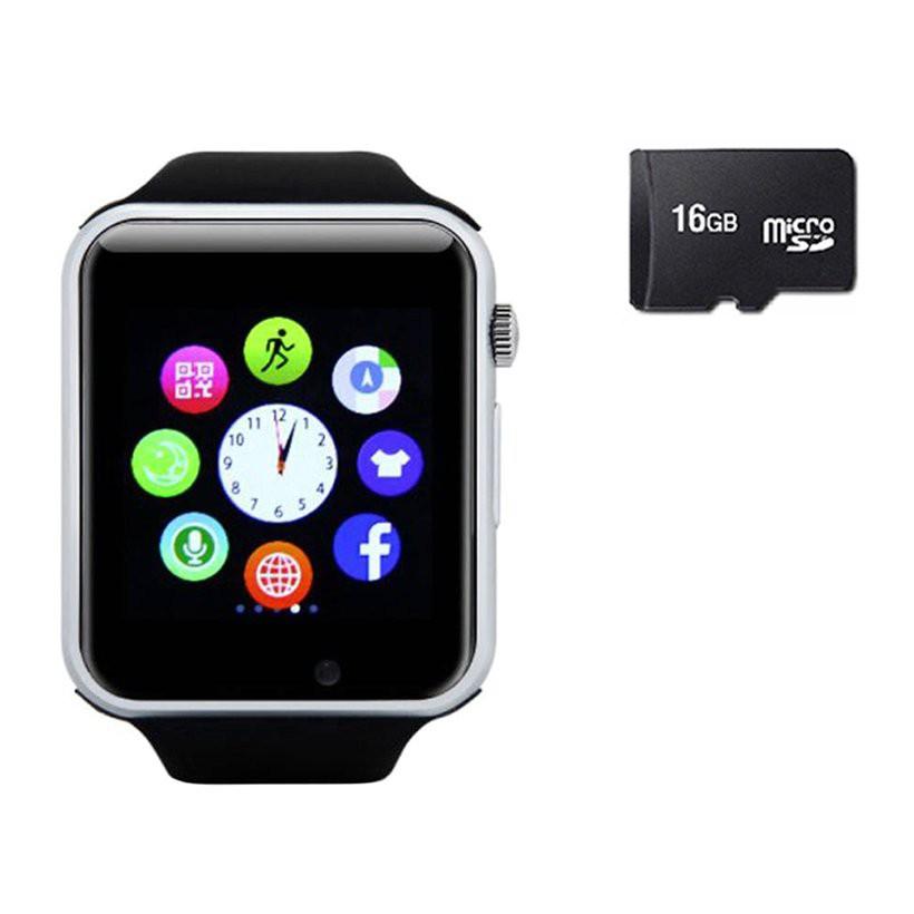 Đồng hồ thông minh gắn được sim, thẻ nhớ nghe gọi nghe nhạc a1 tặng kèm thẻ nhớ 16G ( màu đen bạc)