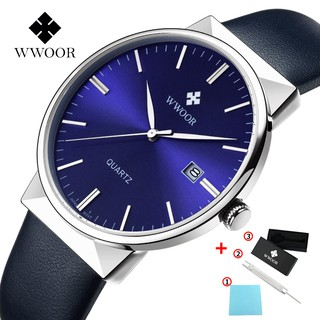 WWOOR men's leather watch waterproof wristwatch simple quartz watches 8026P