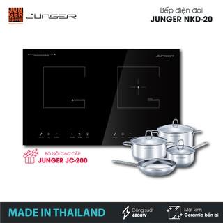 Bếp đôi điện từ hồng ngoại Junger NKD-20 - Công suất 4200W - mặt kính Ceramic | Bảo hành 2 năm | MADE IN THAILAND