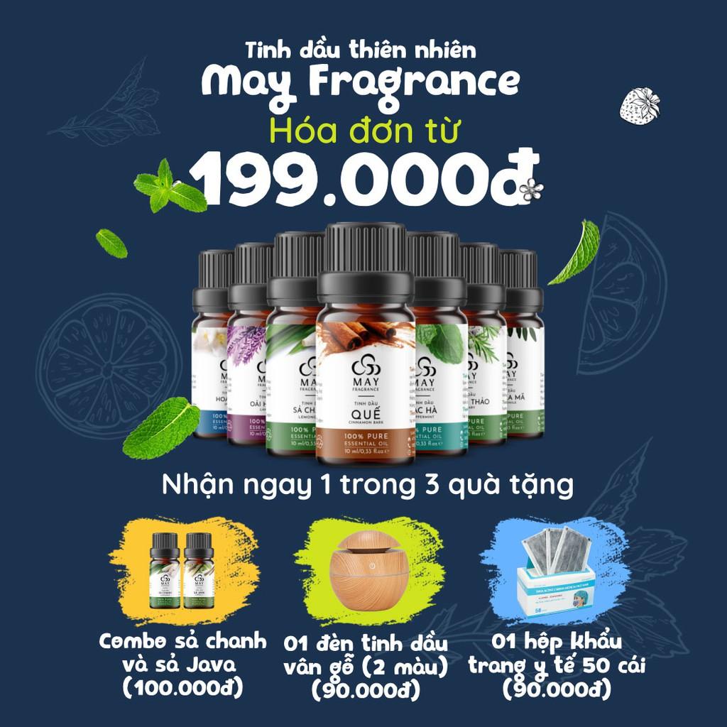Tinh dầu thiên nhiên thơm phòng [Tặng quà 90k-Hóa đơn 199k] May Fragrance lọ 10 ml (20 lo