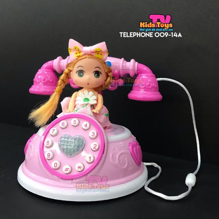 (KÈM QUÀ TẶNG)Đồ chơi điện thoại bàn kiểu dáng cổ cho bé kèm búp bê siêu dễ thương có nhạc, đèn
