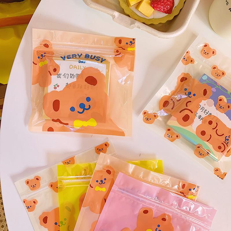 Túi Zip Nhựa Dùng Được Nhiều Lần Đựng Quà, Đồ Nhỏ Hình Gấu Nâu Cake Bear