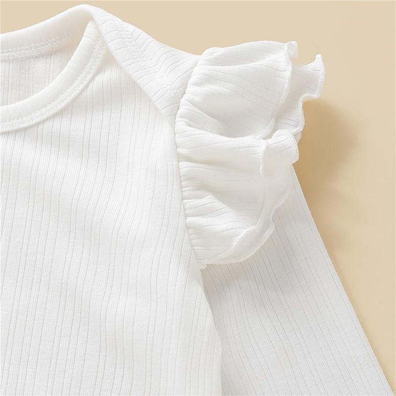 Bộ Đồ 2 Mảnh Mikrdoo Gồm Áo Liền Thân Tay Dài Màu Trắng Và Chân Váy Yếm In Họa Tiết Chấm Bi Dành Cho Bé Gái