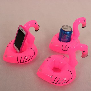 Mini Flamingo Floating Inflatable Drink Can Cell Phone Holder Stand Pool Toys