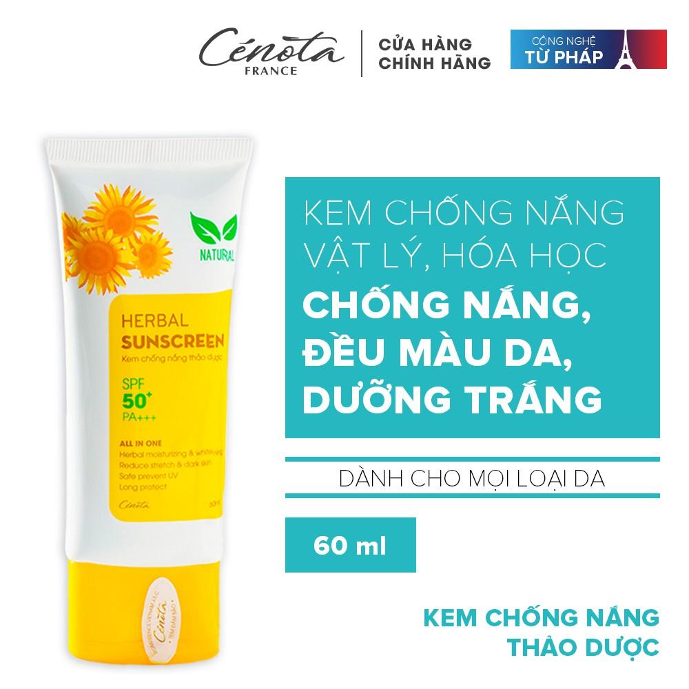 Kem chống nắng thảo dược Cénota Herbal Sunscreen SPF50+/PA+++ 60ml