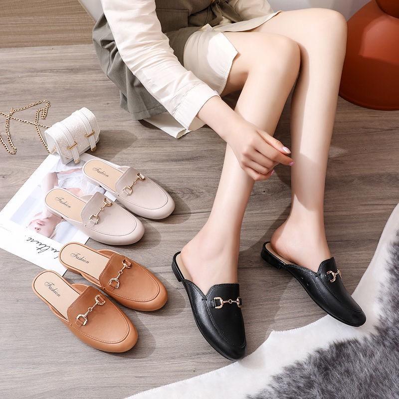 (CÓ 3 MÀU) Giày sục nữ trơn móc khóa đơn giản dễ phối đồ