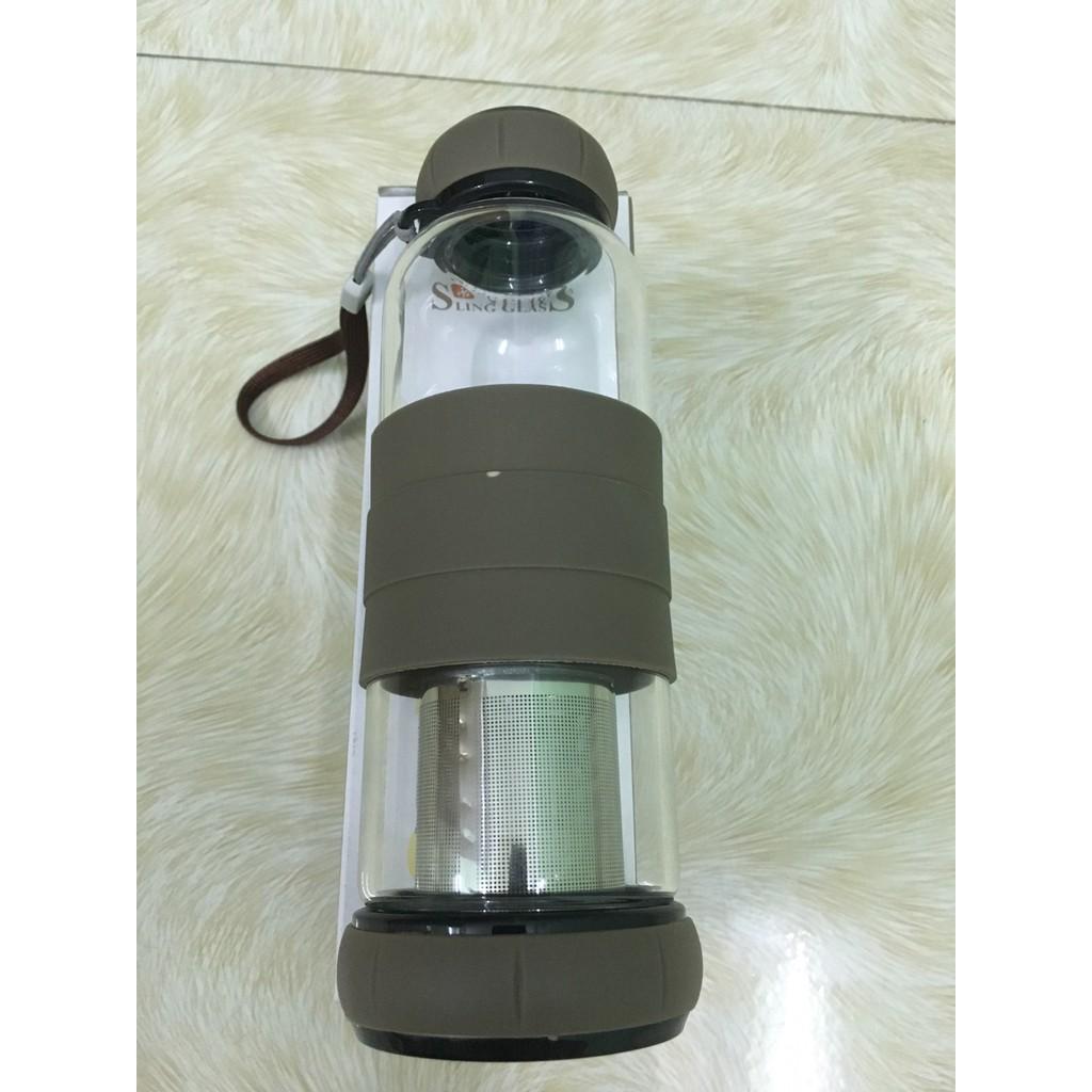 Bình pha trà thủy tinh 420ml có tay cầm silocon