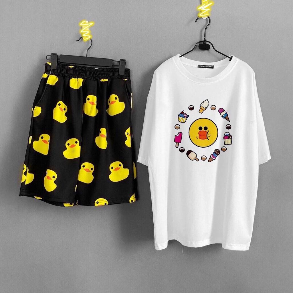 Set bộ quần áo nữ Unisex Vịt vàng, set đồ Unisex form rộng Molly Fashion