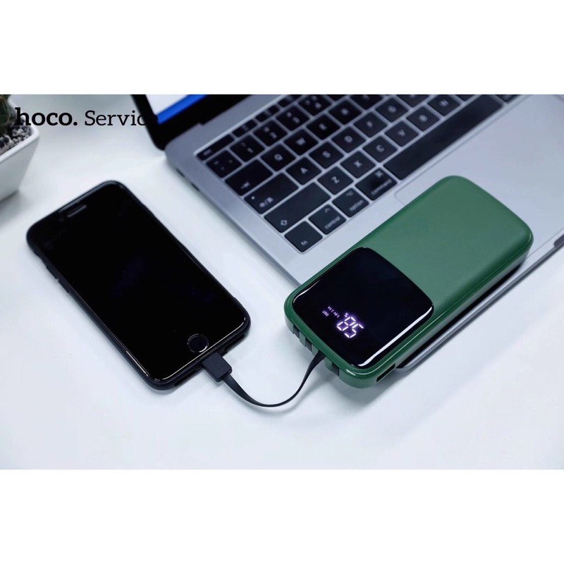 Sạc dự phòng chính hãng 10000mah Hoco DB07 tích hợp sẵn 4 dây cáp