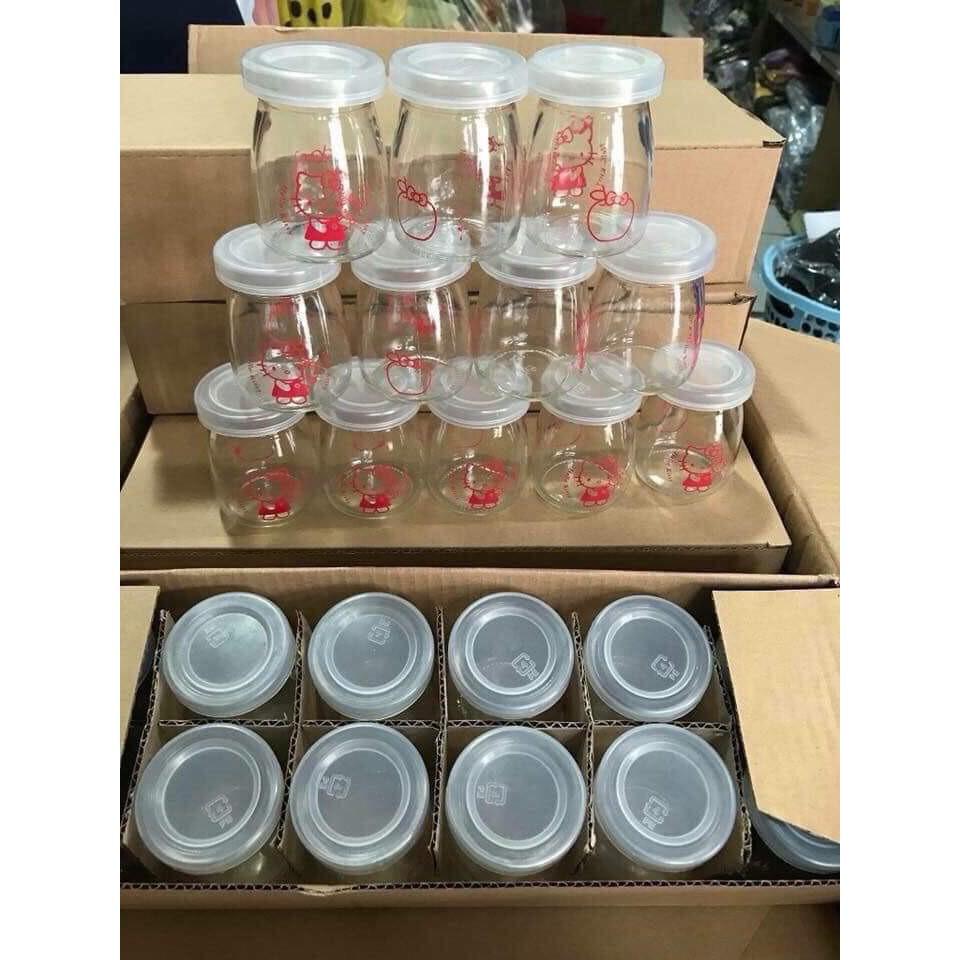 12 hộp đựng sữa chua, caramen thủy tinh 100ml có nắp đậy