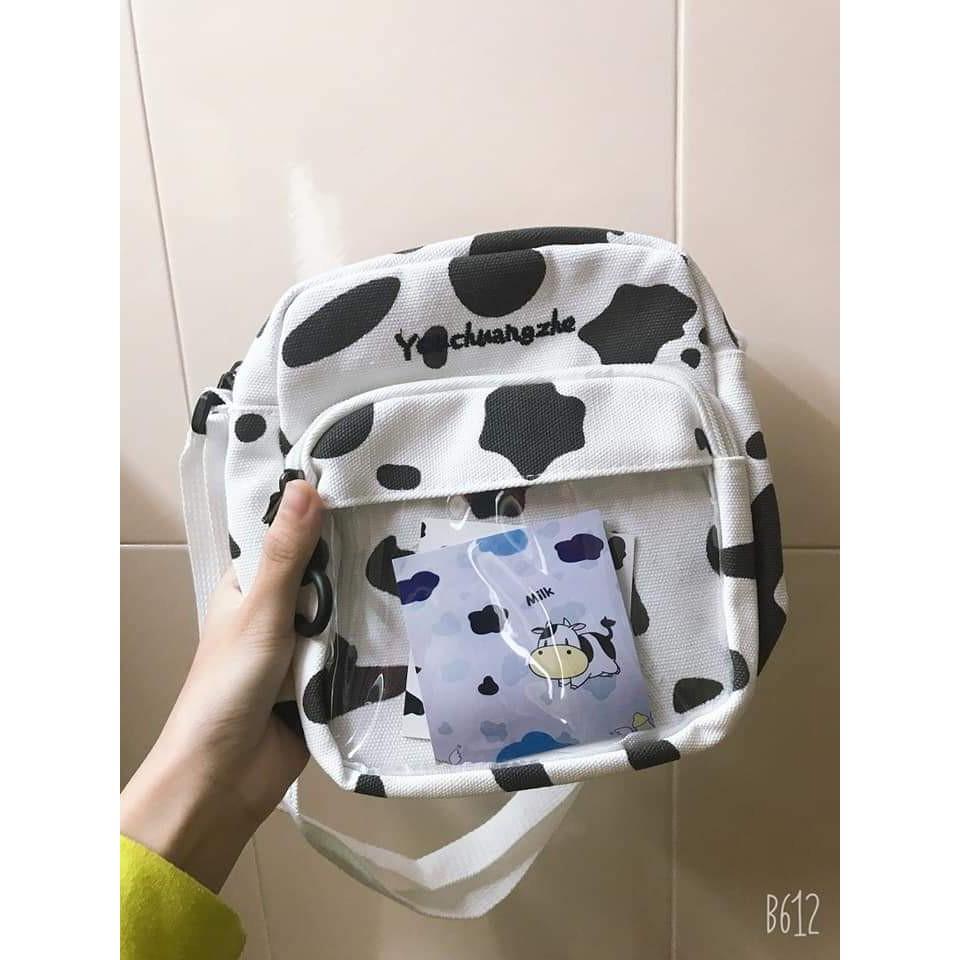 [Mã WAMT2405 giảm 10K đơn 0K] [GIÁ XƯỞNG] Túi đeo chéo canvas in hình bò sữa phong cách Hàn Quốc