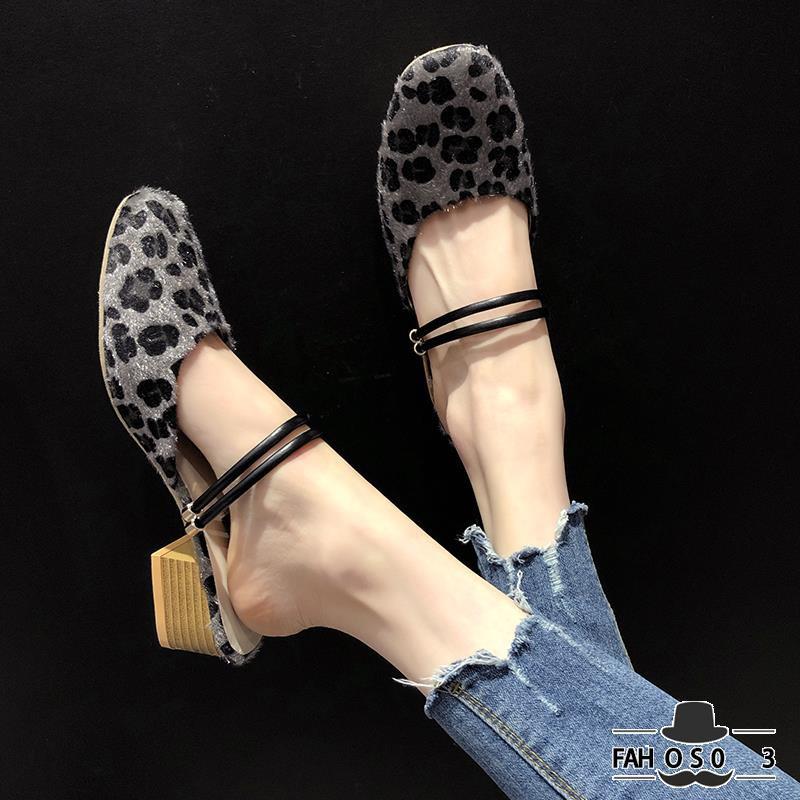 Giày sandal họa tiết da báo phong cách Hàn Quốc dành cho nữ