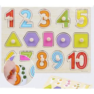 [ĐỒ CHƠI GỖ] Xếp hình có núm cầm chủ đề số và hình học