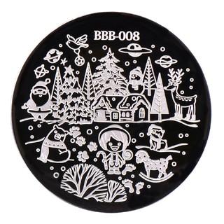 Khuôn hình tròn chủ đề Giáng Sinh dùng trang trí móng tay chuyên nghiệp 4