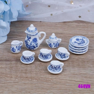 [DOU]15Pcs 1:12 Dollhouse miniature blue flower tableware porcelain coffee tea cups