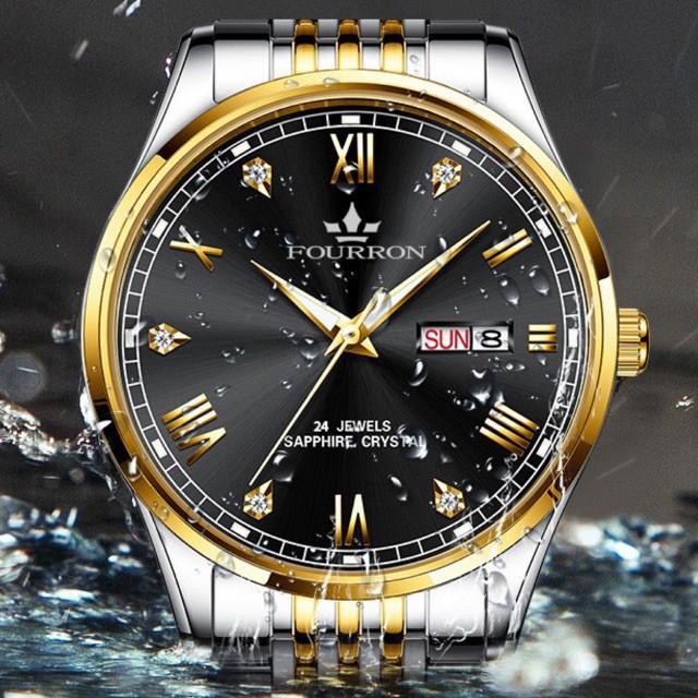 Đồng hồ nam FOURRON FN28U 2 lịch Chống nước sinh hoạt Mặt kính Mineral rất trong và chồng trầy sinh hoạt dây thép