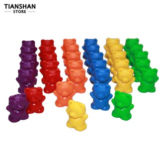 60Pcs Colorful Bear Shape Counters Toy Counting Numbers Classroom Teaching Aids