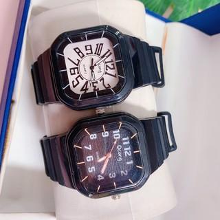 Đồng hồ unisex Qcong mặt vuông viền nhựa phong cách thể thao, trẻ trung nhiều màu sắc dễ dàng phối đồ