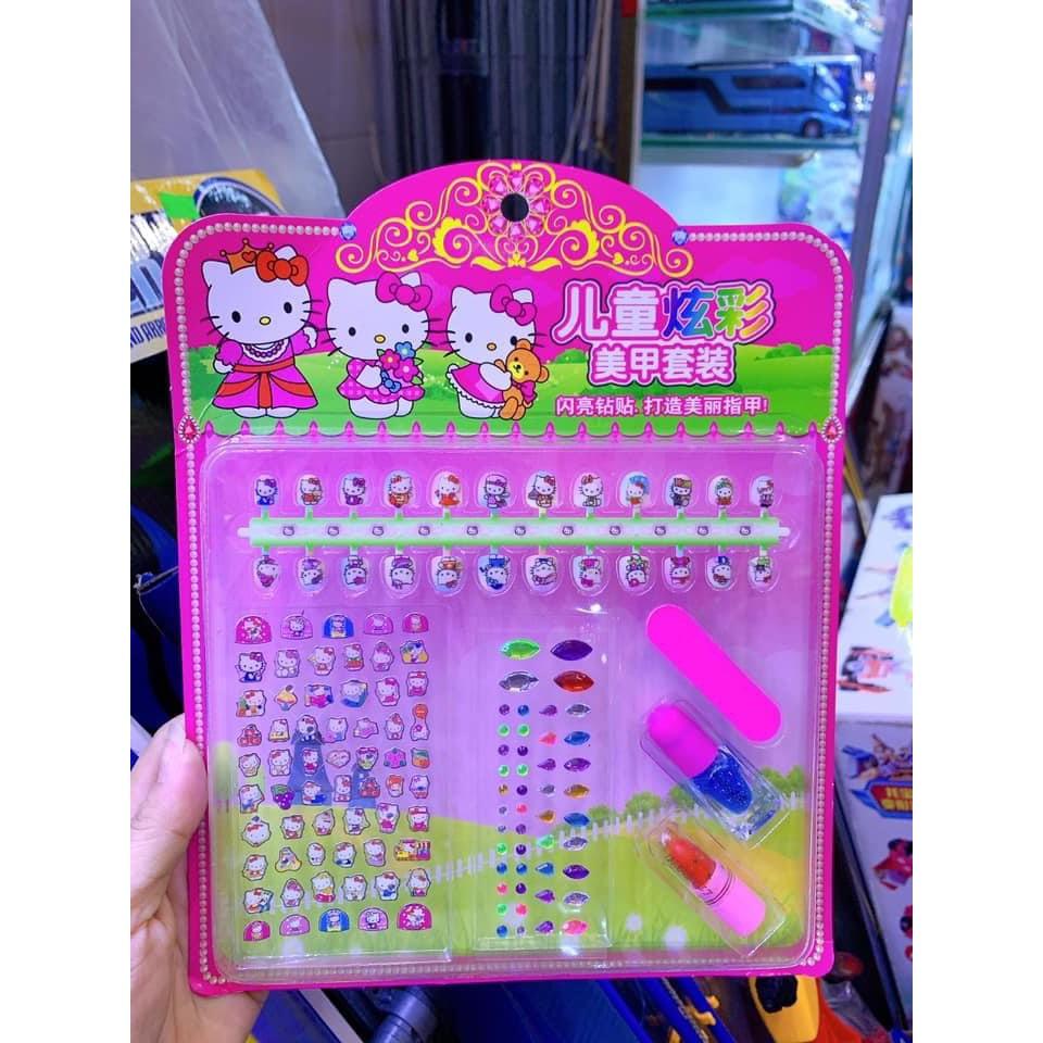 Vỉ đồ chơi trang điểm làm nails dán móng tay, sơn móng tay, son, sticker hình dán cho bé