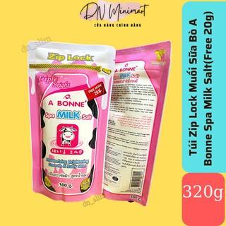 (Túi Zip Lock Free 20g) Muối Tắm Sữa Bò Tẩy Tế Bào Chết A Bonne Spa Milk Salt 320g