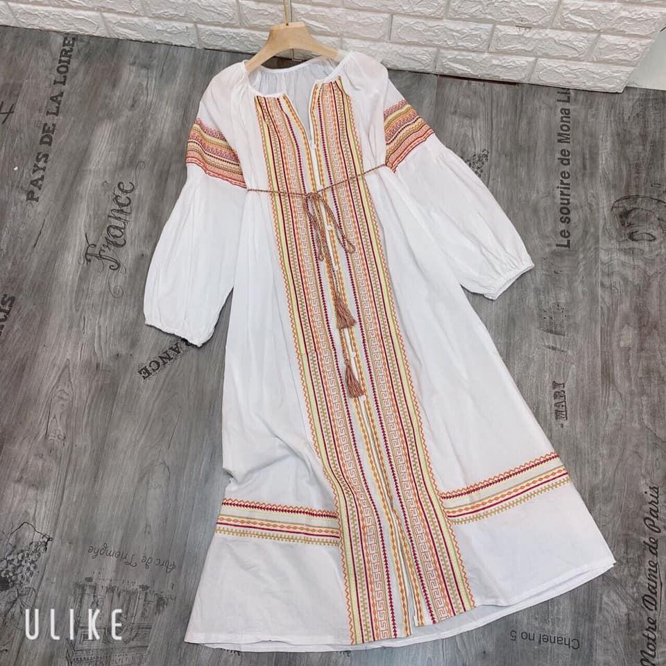 Đầm mãi trắng thổ cẩm Boho