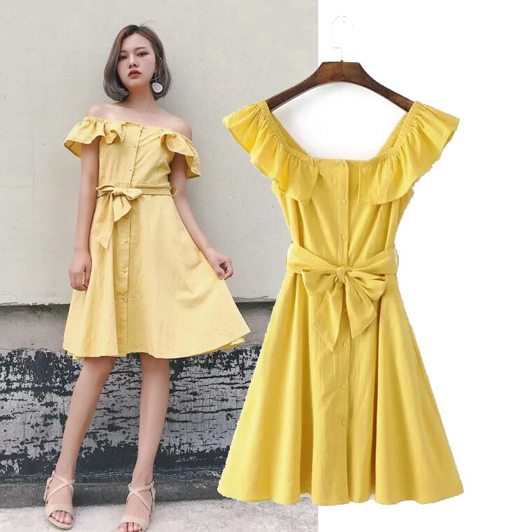 Váy vàng trễ vai lưng nơ - 3511335 , 964000221 , 322_964000221 , 300000 , Vay-vang-tre-vai-lung-no-322_964000221 , shopee.vn , Váy vàng trễ vai lưng nơ