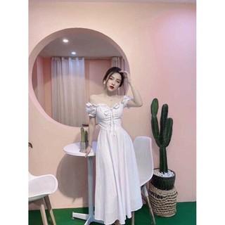 đầm mặc nhiều kiểu ulzzang trễ vai trắng xoè