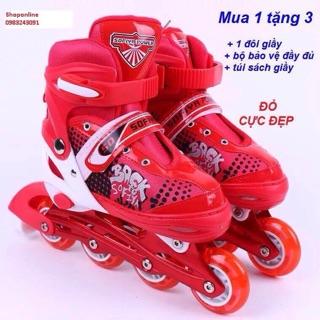 giầy trượt patin phát sáng cao cấp + tặng 1 bộ bảo vệ đầy đủ +1 túi xách giầy tiện lợi.