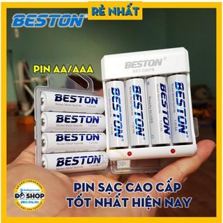 (Rẻ Nhất) Combo 4 Pin AA/AAA Kèm Sạc Chính Hãng BESTON Tốt Nhất, Bảo Hành 1 Đổi 1 – Đô Shop