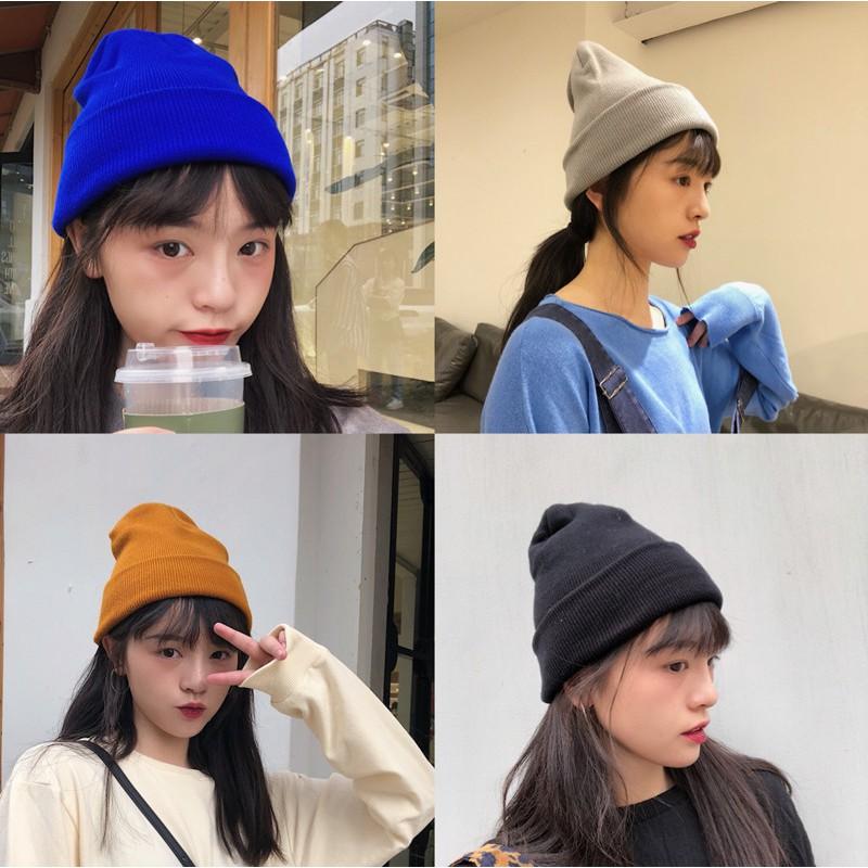Mũ Len Màu Trơn Phong Cách Hàn Quốc