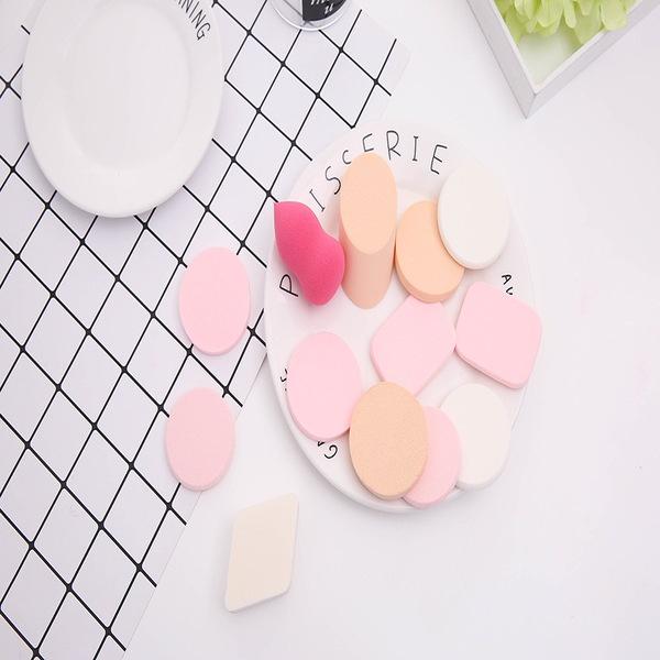 Bông mút trang điểm bộ 6 bông tán phấn tạo khối mềm mịn hình giọt nước, hồ lô, tròn, tam giác nhiều màu