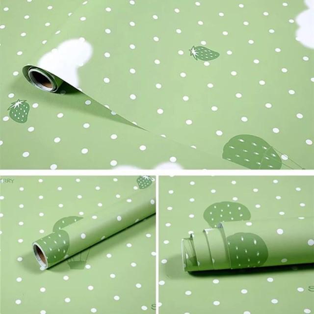 5m giấy dán tường khinh khí cầu xanh lá không cần keo - khổ lớn 0.6m