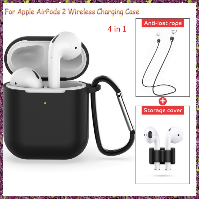 4 Pcs/set For Apple AirPods 2 Wireless Charger Protective Silicone Case Cover Accessories Set