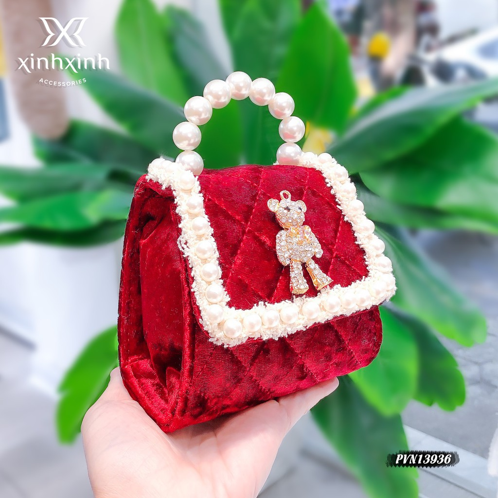 Túi xách cho bé , túi đeo chéo bé gái mini vải nhung trần trám - Xinh Xinh Accessories
