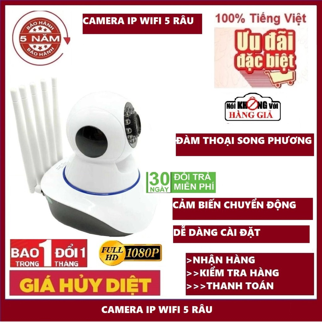 CAMERA WIFI - YOOSEE WIFI 5 RÂU SIÊU NÉT 2.0 FULL HD A 1920 x 1080P