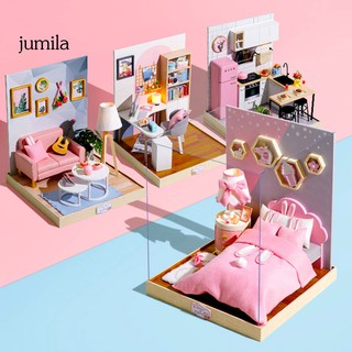 JULA DIY Wooden 3D Miniature LED Dollhouse Model Puzzle Craft Toy Birthday Xmas Gift