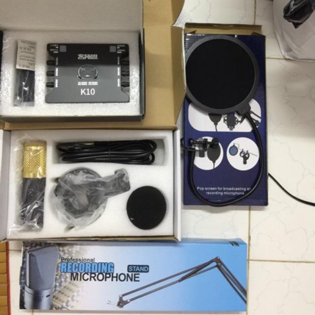 Combo bộ mic bm800 kèm chân đế sound card K10 dây live stream