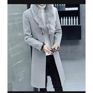 Áo khoác măng tô nam hàn quốc cổ lót lông -Tman 024