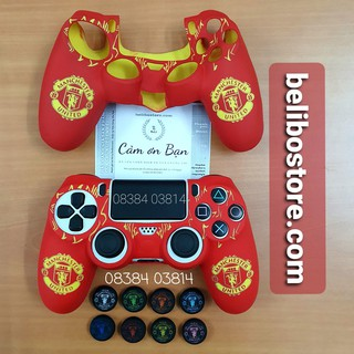 Bo c cao su hình đội bóng MU Manchester United Vỏ silicon mềm bảo vệ tay cầm chơi game PS4 Dualshock 4 tại belibostore thumbnail