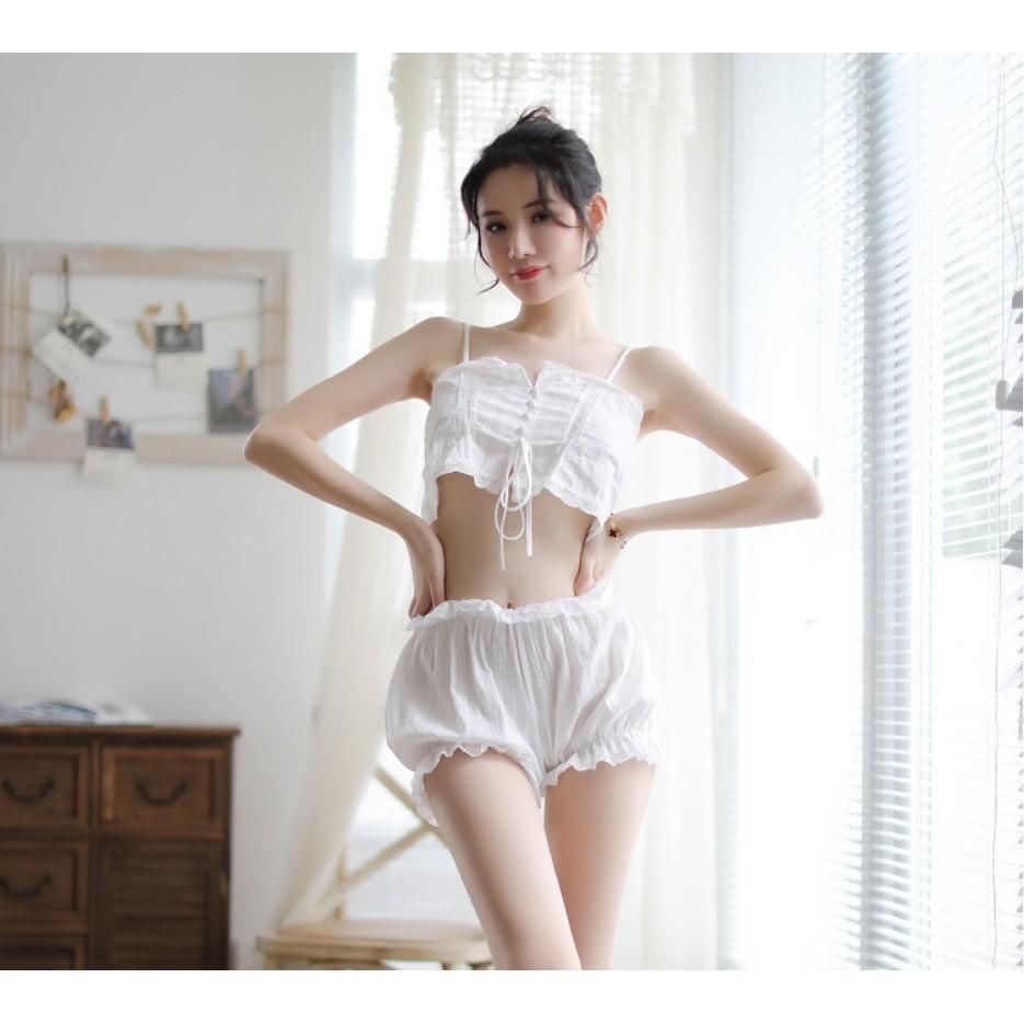 Bộ ngủ nữ sexy dây rút cotton thoáng mát, trẻ trung, thoải mái (MS 09011) Anna Shop