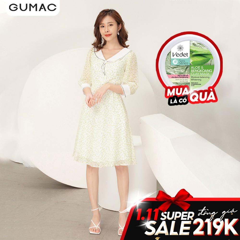Đầm hoa cổ thủy thủ GUMAC DA984