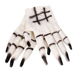 FS-Halloween Ghost Gloves Scary Cosplay Props Costumes Masquerade Party Supplies (White)