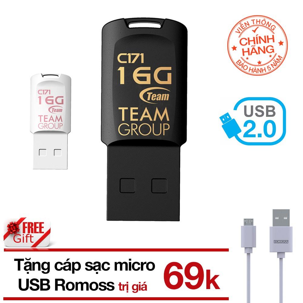 (Tặng cáp) USB 16GB chống nước C171 TEAM Taiwan (Đen) tặng Cáp micro USB tròn Romoss - Hãng phân phố