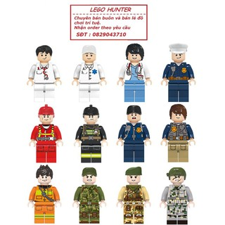 Combo 12 nhân vật lego bác sỹ , y tá , cảnh sát , lính cứu hỏa , nhân viên cứu hộ , lính
