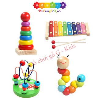 Combo sét 4 món đồ chơi - luồn hạt - con sâu gỗ - đàn gỗ 8 thanh - cầu vồng - giúp bé phát triển thông minh thumbnail