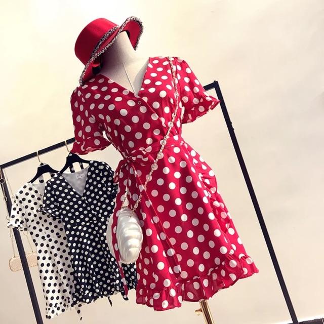 Order váy đỏ chấm bi