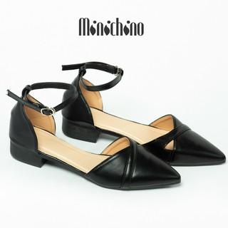 Giày sandal nữ gót cao 3cm MINICHINO mũi nhọn khoét lỗ phối dây thời trang màu đen TC020 thumbnail