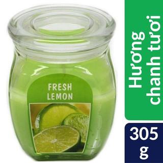 Hũ nến thơm tinh dầu Bolsius Fresh Lemon 305g – hương chanh tươi, nến thơm phòng, kháng khuẩn, thư giãn, không khói