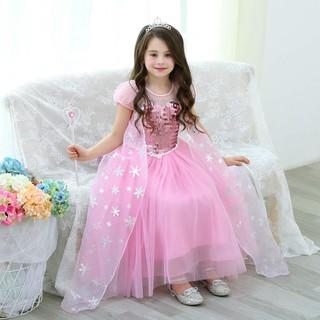 Váy Đầm Công Chúa Elsa Màu Hồng Kèm Phụ Kiện